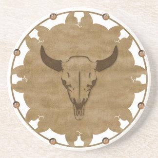 Native American Bull Skull Drink Coaster