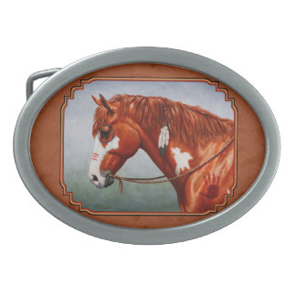 Native American Chestnut Pinto Horse Copper Oval Belt Buckle