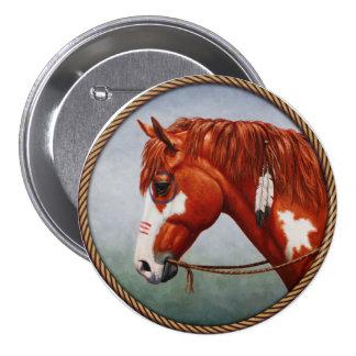 Native American Chestnut Pinto War Horse 3 Inch Round Button