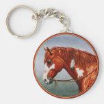 Native American Chestnut Pinto War Horse Basic Round Button Keychain
