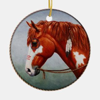 Native American Chestnut Pinto War Horse Ceramic Ornament