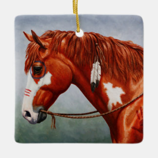 Native American Chestnut Pinto War Horse Ceramic Ornament