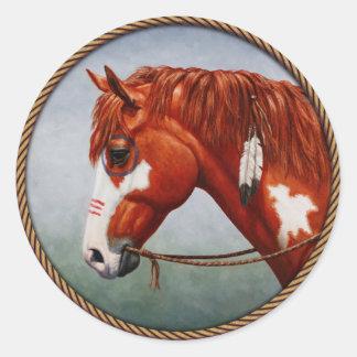 Native American Chestnut Pinto War Horse Classic Round Sticker