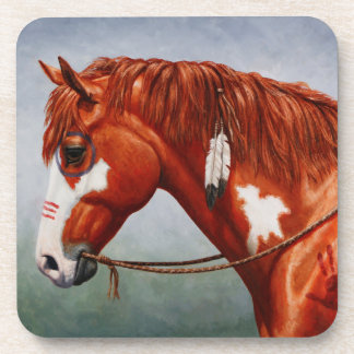 Native American Chestnut Pinto War Horse Coaster