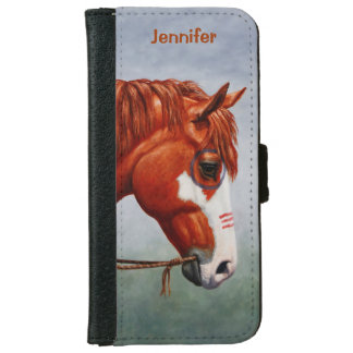 Native American Chestnut Pinto War Horse iPhone 6/6s Wallet Case