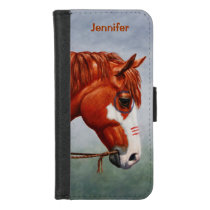 Native American Chestnut Pinto War Horse iPhone 8/7 Wallet Case