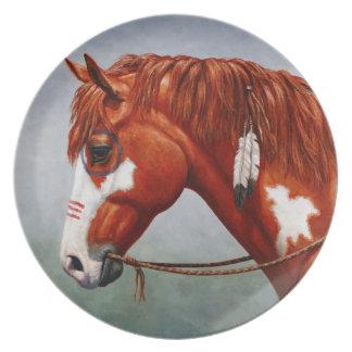 Native American Chestnut Pinto War Horse Melamine Plate