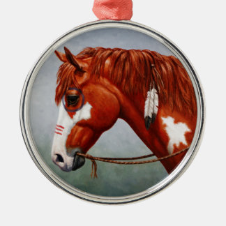 Native American Chestnut Pinto War Horse Metal Ornament