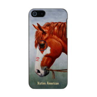 Native American Chestnut Pinto War Horse Metallic Phone Case For iPhone SE/5/5s
