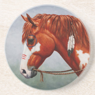 Native American Chestnut Pinto War Horse Sandstone Coaster