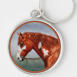 Native American Chestnut Pinto War Horse Silver-Colored Round Keychain