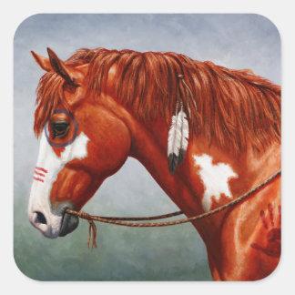 Native American Chestnut Pinto War Horse Square Sticker