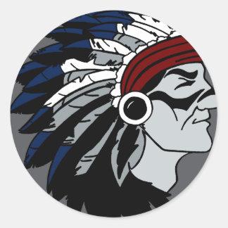 Native American Chief Classic Round Sticker