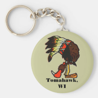 NATIVE AMERICAN CHIEF & TOMAHAWK IN HAND KEY CHAIN
