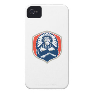 Native American Chief Warrior Headdress Retro iPhone 4 Covers