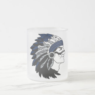 Native American Chief with Blue Headdress Glass Frosted Glass Coffee Mug