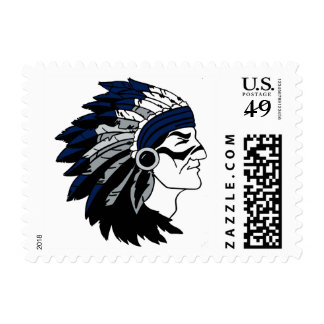 Native American Chief with Blue Headdress Postage Stamp