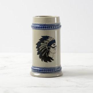 Native American Chief with Blue Headdress Stein 18 Oz Beer Stein