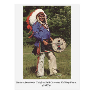 Native American Chief with Drum old postcard