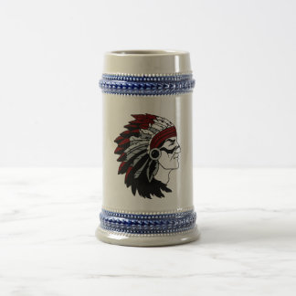 Native American Chief with Red Headdress Glass 18 Oz Beer Stein