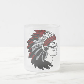Native American Chief with Red Headdress Glass Frosted Glass Coffee Mug