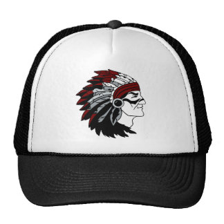 Native American Chief with Red Headdress Trucker Hat