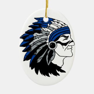 Native American Chief with Red Headress Ceramic Ornament