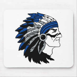 Native American Chief with Red Headress Mousepads