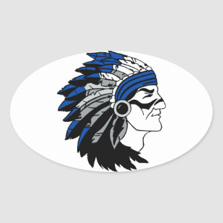 Native American Chief with Red Headress Oval Sticker