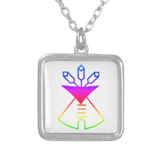 Native American Church Symbol Square Pendant Necklace