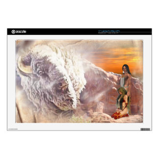 Native American Couple and Buffalo  Zazzle Skin Laptop Skin