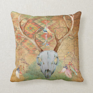Native American Deer Skull amulet map feathers Throw Pillow