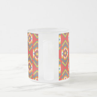 Native American Design Fire Frosted Glass Coffee Mug