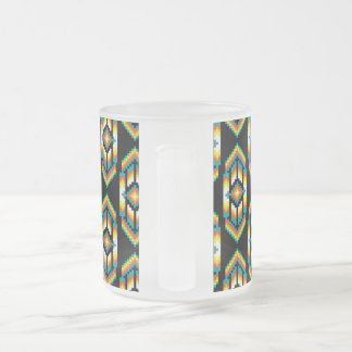 Native American Design Midnight.png Frosted Glass Coffee Mug