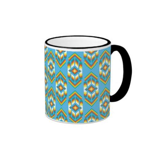 Native american design sky blue ringer coffee mug zazzle for Blue mug designs