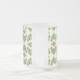Native American Design White.png Frosted Glass Coffee Mug