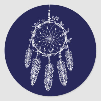 Native American Dream Catcher Navy Blue Tribal Classic Round Sticker