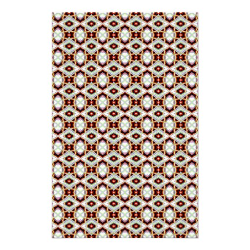 Native American Fabric Pattern On Black & Red Stationery Paper