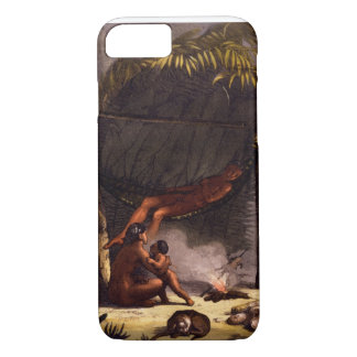 Native American Family under a Leaf Shelter (colou iPhone 7 Case