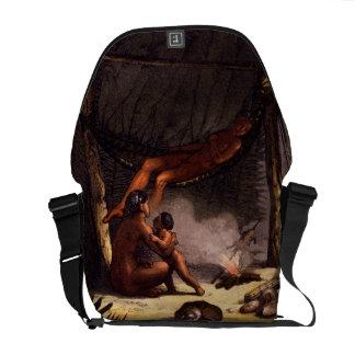 Native American Family under a Leaf Shelter (colou Messenger Bag
