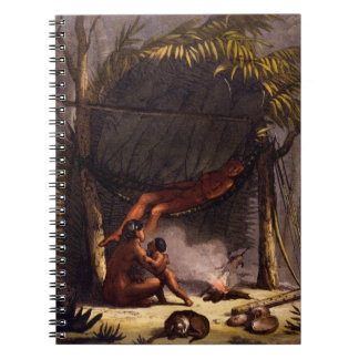 Native American Family under a Leaf Shelter (colou Notebook