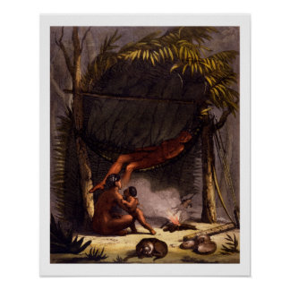 Native American Family under a Leaf Shelter (colou Poster