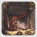 Native American Family under a Leaf Shelter (colou Square Stickers
