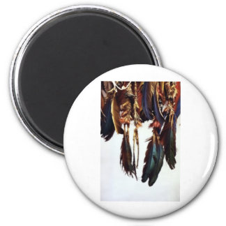 Native American Feathers 2 Inch Round Magnet
