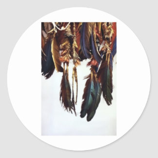Native American Feathers Round Sticker