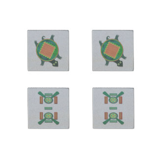 Native American Folk Art Turtle Stone Magnet