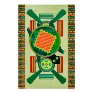 Native American Folk Art Turtle Poster