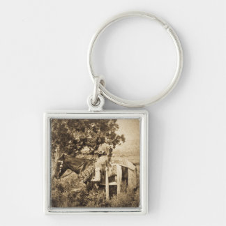 Native American Girl on Horseback Keychain