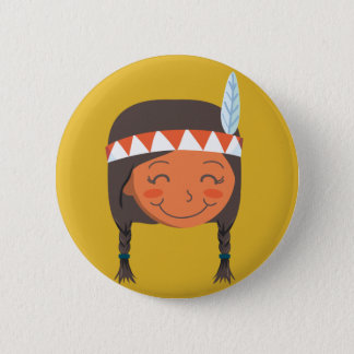 Native American Girl Pinback Button