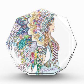 Native American Girl's Headdress Acrylic Award